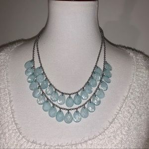 Chandelier Two Tiered Light Blue Bead Necklace
